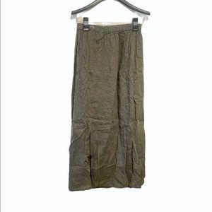 Flax Linen Elastic Waist Split Maxi Skirt